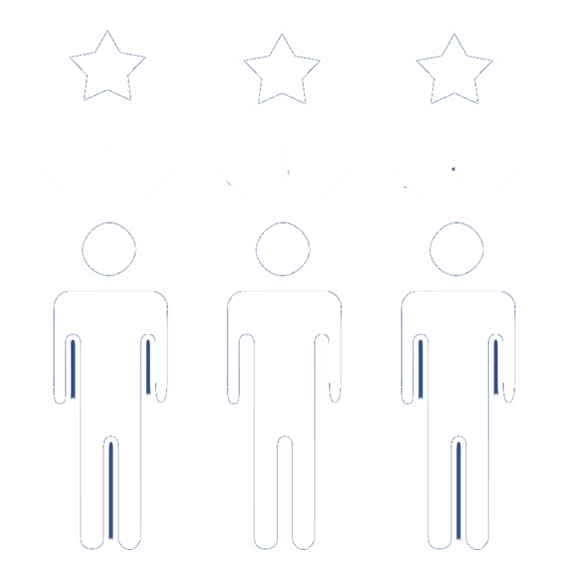 Three People with stars above heads